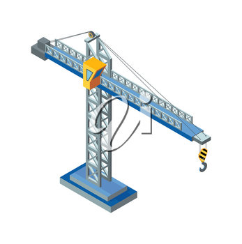 Crane machine, industrial construction machinery made of steel isolated icon vector. Lifting device with hook and rope. Tower hydraulic structure
