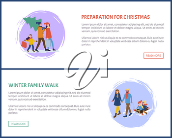 Preparation for Christmas winter holidays set vector. Mother and father, children having fun outdoors, woman with packages, shopping. People on sledge