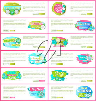Set of web pages with promo posters, promotion of springtime discounts vector. Best prices, online sites with text sample, blooming flowers and price off