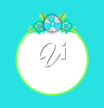 Round frame with green line and flowers with spare place for text, banner in flat style. Paper empty card decorated by blossom and leaves on blue vector