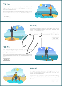 Fishermen fishing from platform and from bank. Standing and sitting fishers with fish-rods, fish in hands and tackle sport sketch vector illustration