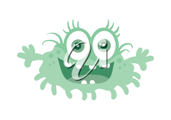 Funny smiling germ. Blue cartoon character with big eyes. Happy monster with tooth. Bacteria with hands and open mouth. Vector funny illustration in flat style design. Friendly virus. Microbe face