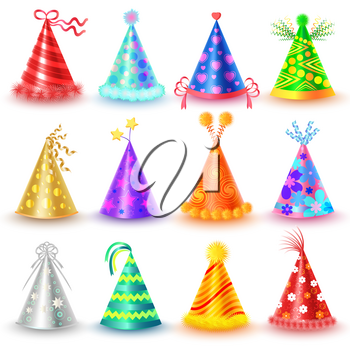 Festive caps collection for parties and celebrations holidays on white. Vector poster of colourful festive caps with straight and twisted ribbons, yellow ball, red heart. Decorative accessory hats