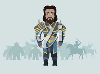 Fantasy knight character vector in flat style design. King game personage in fairy bright armor. Illustration for games industry concepts, icons and pictograms. Silhouettes of orks in background.