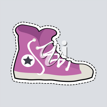 Violet sport footwear patch. Illustration of one sneaker with white loosed shoelace. Fashionable shoes for people. White sole. Sportive shoes with dashed line. Cartoon design. Flat style. Vector
