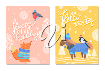 Happy holidays hello winter greeting cards with squirrel in warm sweater and bullfinch in knitted hat, cute donkey on background of snowflakes vector