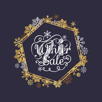 Winter sale poster in decorative frame made of silver and gold snowflakes, snowballs in xmas border, presents and gifts isolated on black vector