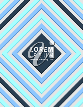 Pattern with squares and colorful stripes, headline and website of company placed in centerpiece of it, closeup on vector illustration