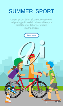 Vertical summer sport banner. Healthy lifestyle fun concept. People in sports uniforms and helmets riding a bike, roller skating and skateboarding on background of urban landscape. Leisure activities