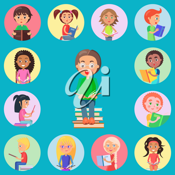 Small icons with read children on blue background. Boy with glasses holding open book and sitting on pile of literature vector illustration.
