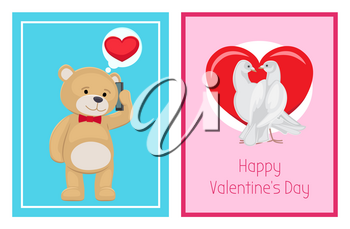 Cute soft toy bears and white doves couples in love with red hearts isolated cartoon banners vector illustrations for valentines day.