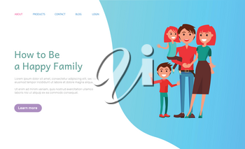 How to be happy family, mother and father parents with kids vector. Male and female couple, wife and husband with children relaxing on holiday outdoors