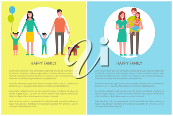 Happy family with pet posters and text sample. Daughter holding balloons, little girl eating ice cream dessert. Parents and children spend time vector
