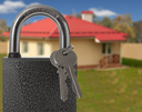 Padlock with house on background, protection of housing concept