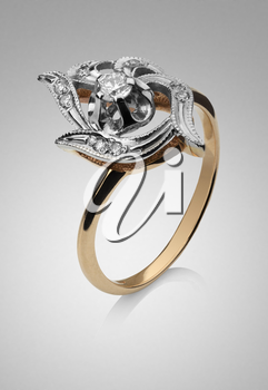 Women's gold ring with platinum and diamond gems