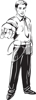 Black and white hand-drawn sketch of a young businessman crooking his finger at the viewer with his arm extended and hand in the foreground