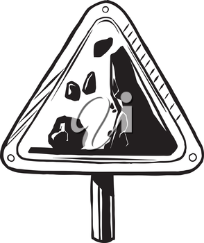 Traffic warning sign to alert drivers to the danger of falling rocks, hand-drawn vector illustration