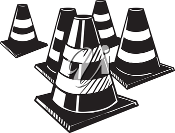 Traffic cones to warn motorists of hazards connected with roadworks and maintenance, one up and one lying on its side, hand-drawn black and white vector illustration