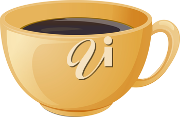 Illustration of a cup of brewed coffee on a white background