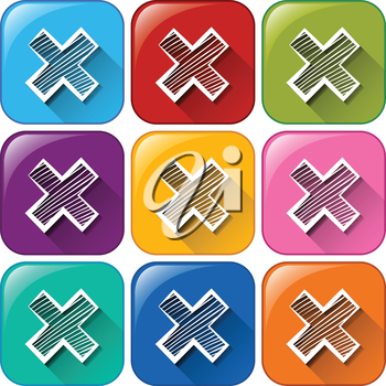 Illustration of different color of muliply icons