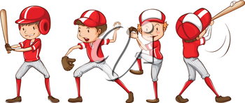 Illustration of a sketch of the baseball players in red uniform on a white background
