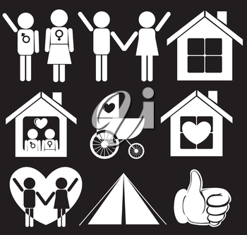 Illustration of a family planning on a black background