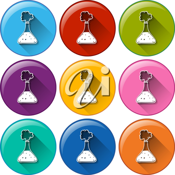 Illustration of the round buttons with cylinders on a white background