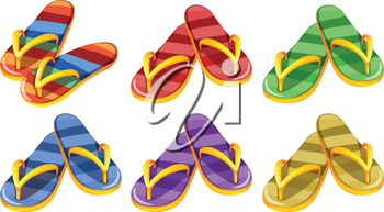 Illustration of the six pairs of slippers on a white background