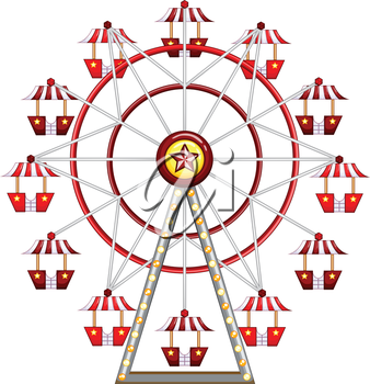 Illustration of a close up ferris wheel