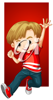 Happy boy in red shirt illustration