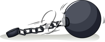 Ball with a chain on a white background