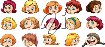 Ladies with different facial expressions on a white background
