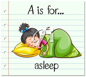 Flashcard letter A is for asleep illustration