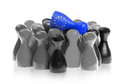 One unique pawn on top of common pawns, flag of the European Union