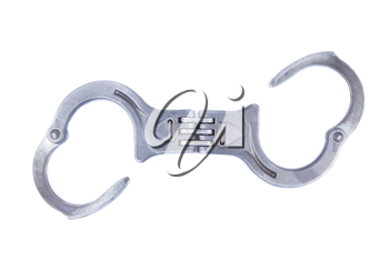 Metal handcuffs isolated on a white background