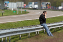 DRONTEN,FLEVOLAND,HOLLAND-APRIL 24: A truck colliding with a large brigde in the highway A6 has caused a large traffic jam on April 24, 2012 at Dronten,Flevoland,Holland