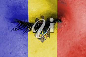 Crying woman, pain and grief concept, flag of Moldova