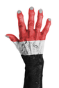 Hand of an old woman wrapped in flag of Yemen