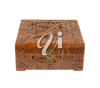 Old wooden chest made in Suriname, isolated on white