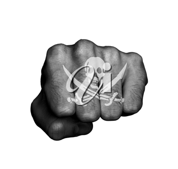 Front view of a punching hand, pirate
