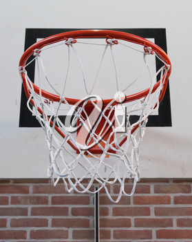 Basket in a old school gym, close-up