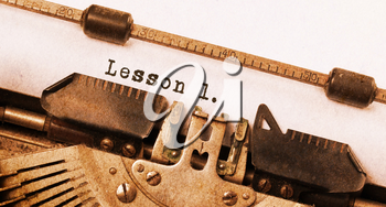 Vintage inscription made by old typewriter, lesson 1