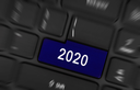 Laptop keyboard with a blue button 2020