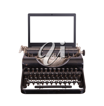 Typewriter with modern laptop screen, isolated on white