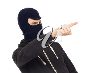 Thief in a mask, isolated on white