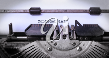 Vintage inscription made by old typewriter, confidential