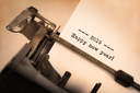 Vintage inscription made by old typewriter, 2019, happy new year