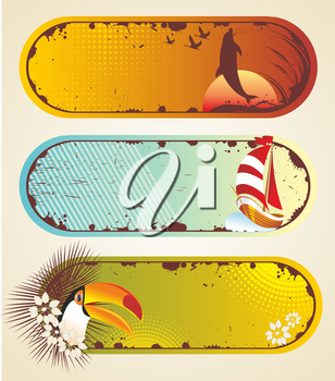 Summer stickers. Travel elements collection with sail, palm and toucan.