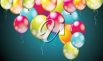Realistic Colorful  Birthday Balloons Flying for Party and Celebrations on Dark Blue Background. Vector Illustration