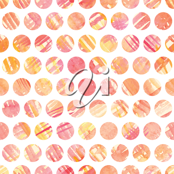 Seamless pattern with hand painted polka dots